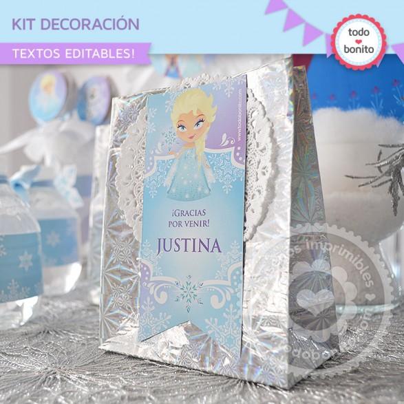 Kit Deco Frozen cierra bolsa