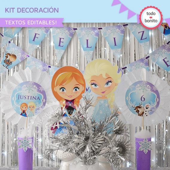 Kit Decoración Imprimible Frozen