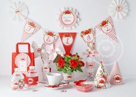 Kit imprimible shabby chic flores en rojo