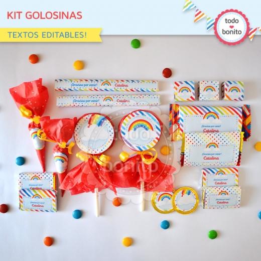 Kit Golosinas Imprimible Arco Iris Todo Bonito