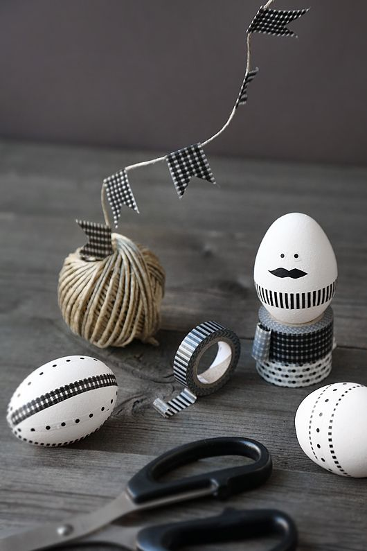 huevos decorados con washi tapes