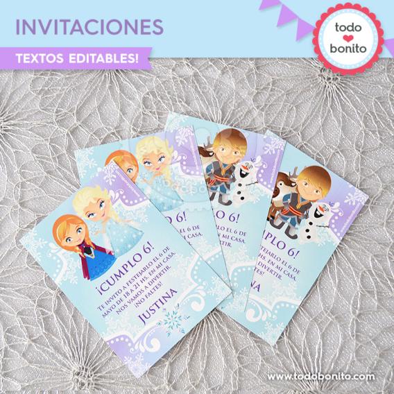Invitaciones y tarjetas de Frozen para imprimir