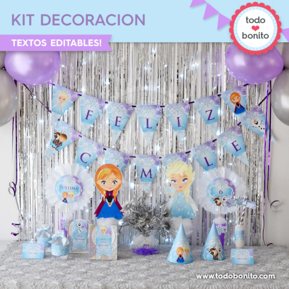 Kit decoración de Frozen para imprimir