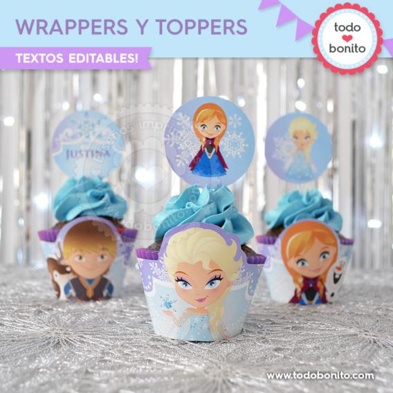Porta cupcakes y toppers de Frozen para imprimir