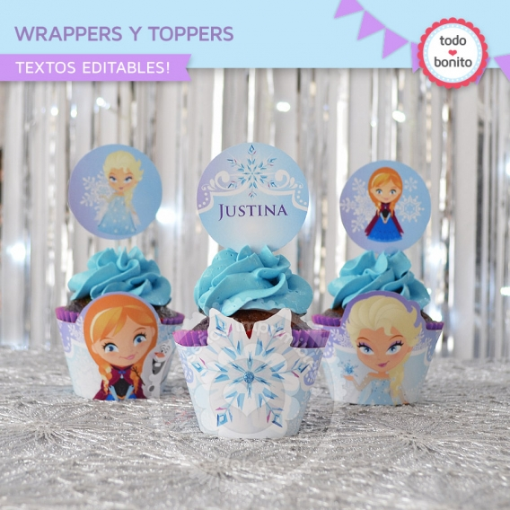 Wrappers y Toppers Imprimible Frozen