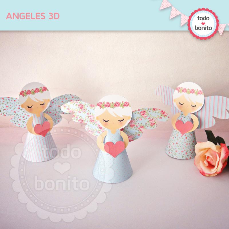 Angelitos 3D imprimibles Shabby Chic Todo Bonito