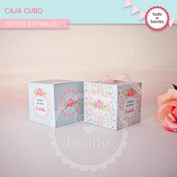 Caja cubo de shabby aqua+rosa