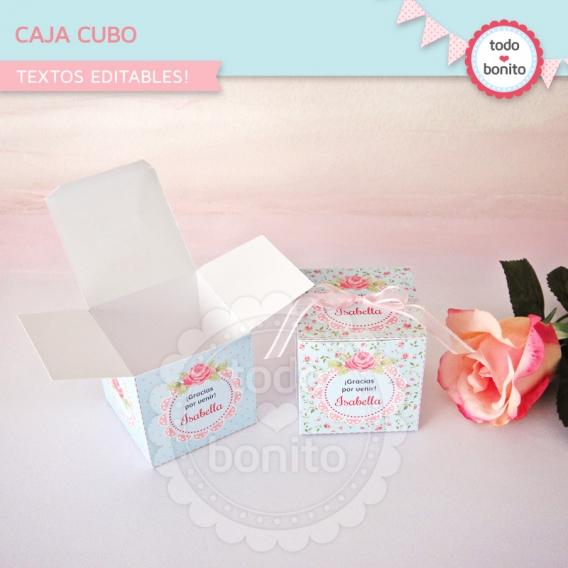 Caja cubos del kit shabby aqua+rosa