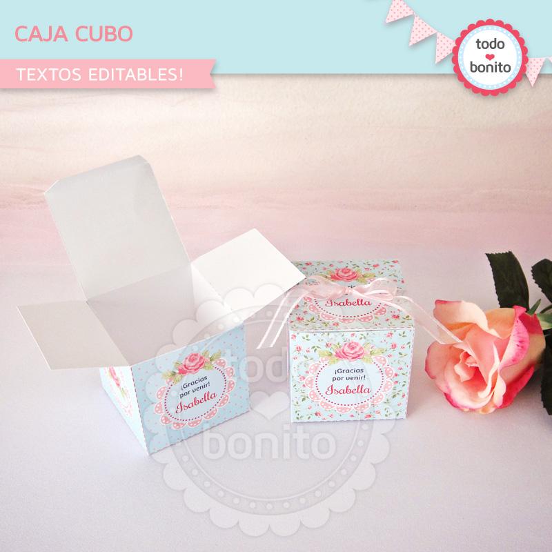 Caja Cubo imprimible shabby chic Todo Bonito