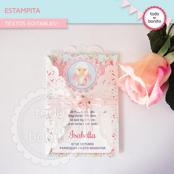 Estampita Imprimible Shabby Chic Aqua Rosa