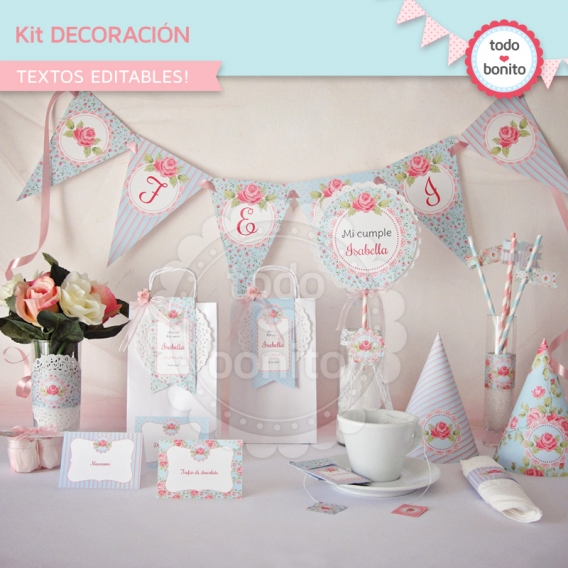 Kit Decoración shabby aqua+rosa
