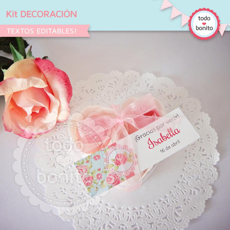 Kit decoración shabby aqua+rosa
