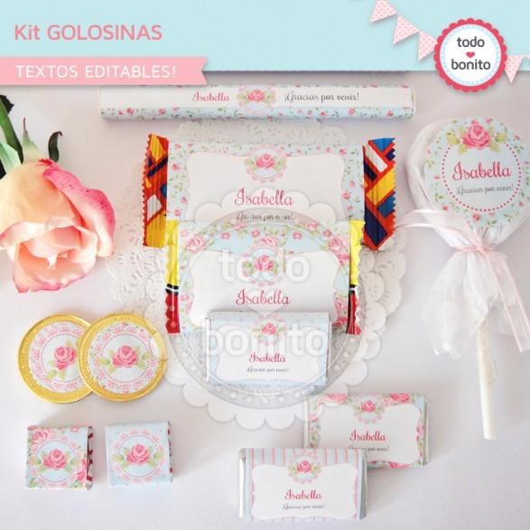 Kit golosinas imprimibles shabby aqua+rosa