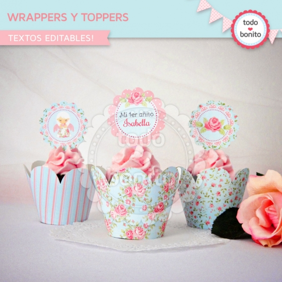 Wrappers y Toppers Imprimibles Shabby Chic Aqua y Rosa