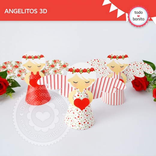 Ángeles Shabby Chic Rojo