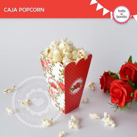 Caja Pop Corn Shabby Chic Rojo
