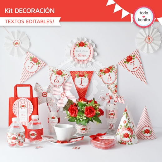 Kit decoración Shabby Chic Rojo
