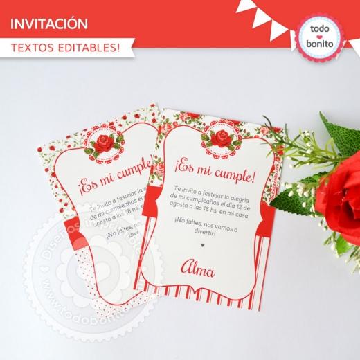 Invitaciones Shabby Chic Rojo