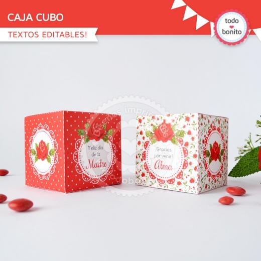 Cajas cubo Shabby Chic Rojo