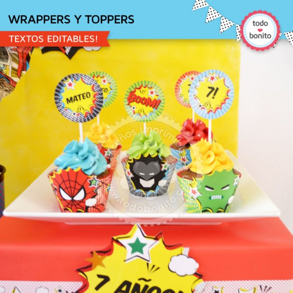 wrappers y toppers superheroes