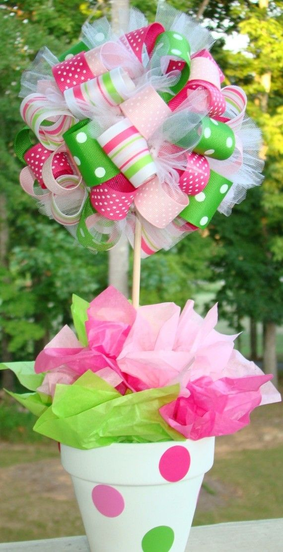 Baby Shower Ribbon Topiary Centerpiece Ideas