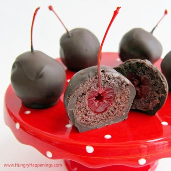 Bocaditos de chocolate y cerezas