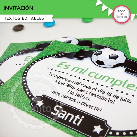 Invitaciones imprimibles diseño futbol