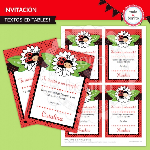 ladybug invitaciones