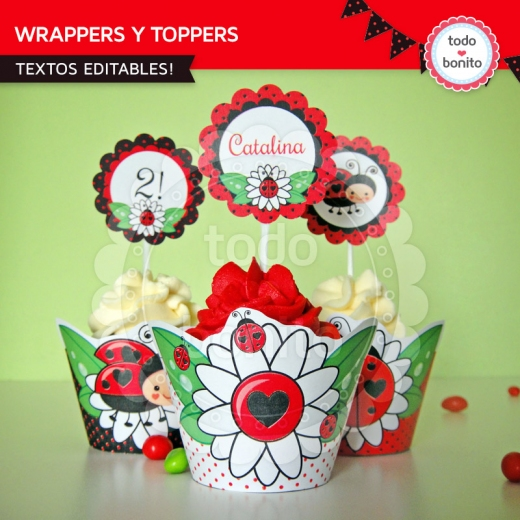 ladybug wrappers y toppers
