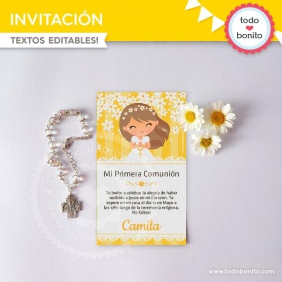 Invitación Primera Comunión Margaritas