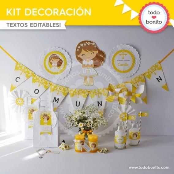 Primera Comunión Margaritas Kit Imprimible decoración