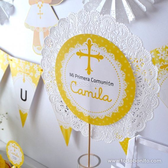"""Centro de mesa Primera Comunión niñas """"margaritas"""" por Todo Bonito"""