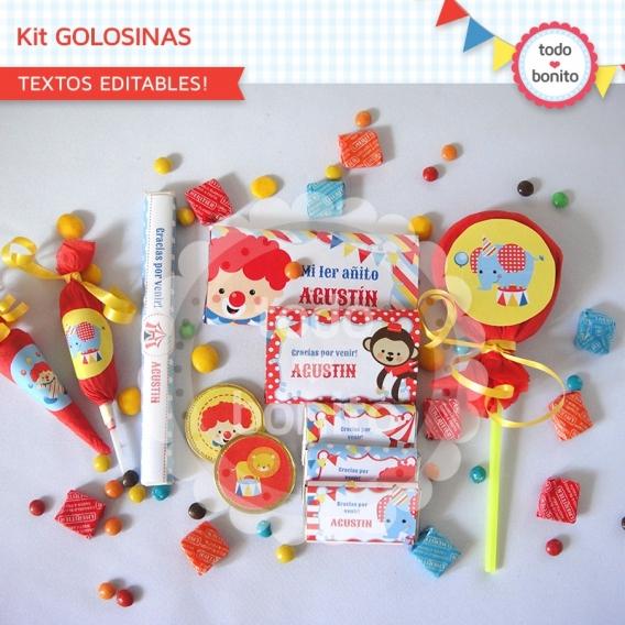 Kit Golosinas Imprimible Circo Niños Todo Bonito