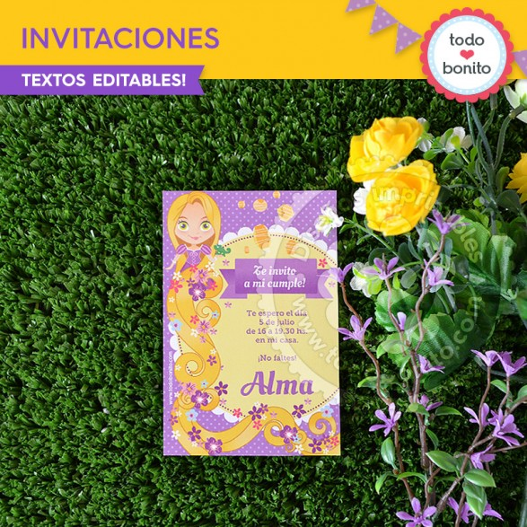 Invitaciones Kit Rapunzel