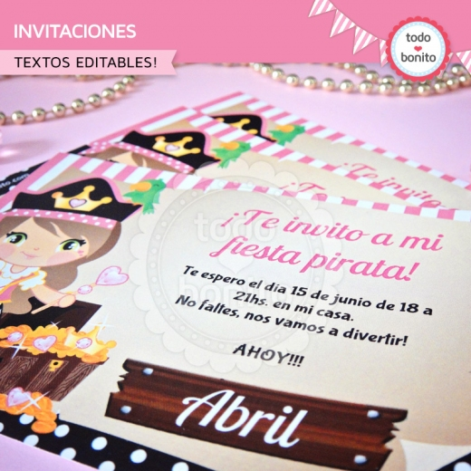 Invitaciones Princesa Pirata