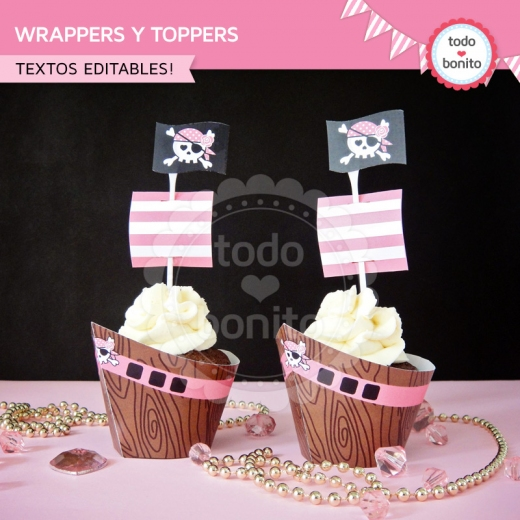 Wrappers y Toppers Princesa Pirata
