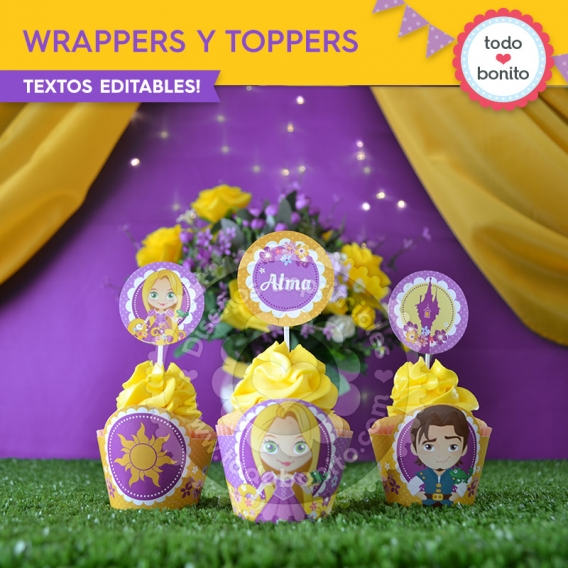 Wrappers y Toppers Kit Rapunzel