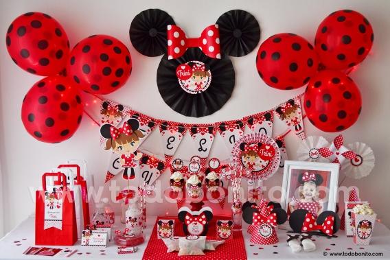 Kit imprimible Minnie Mouse rojo por Todo Bonito