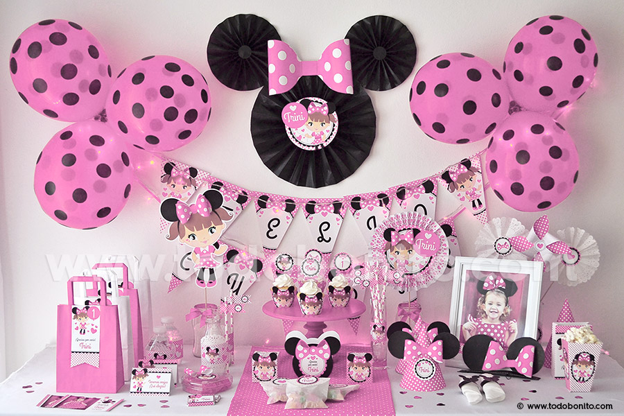 Kit imprimible minnie mouse en rosa todo bonito - Decoracion fiesta rosa ...