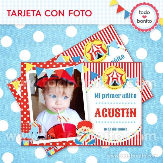 Tarjeta con foto imprimible Kit Circo niños Todo Bonito