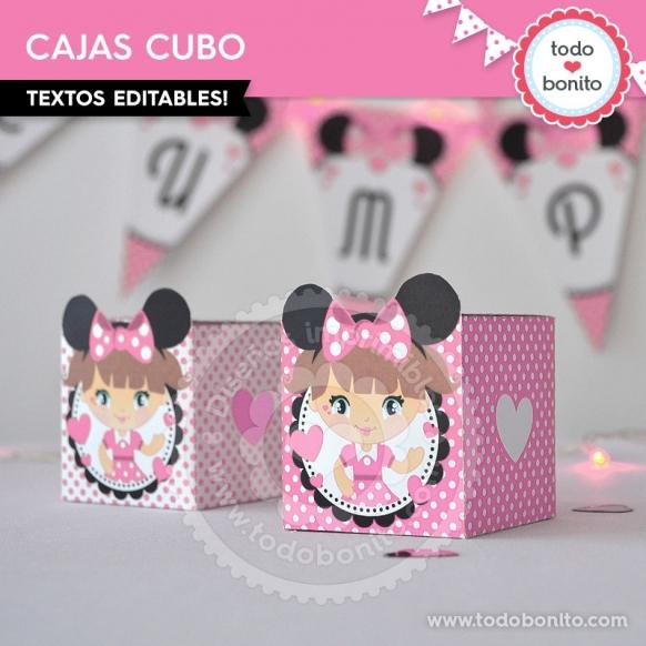 Cajas cubo Minnie Rosa