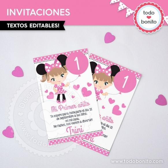 Invitacion Minnie Rosa