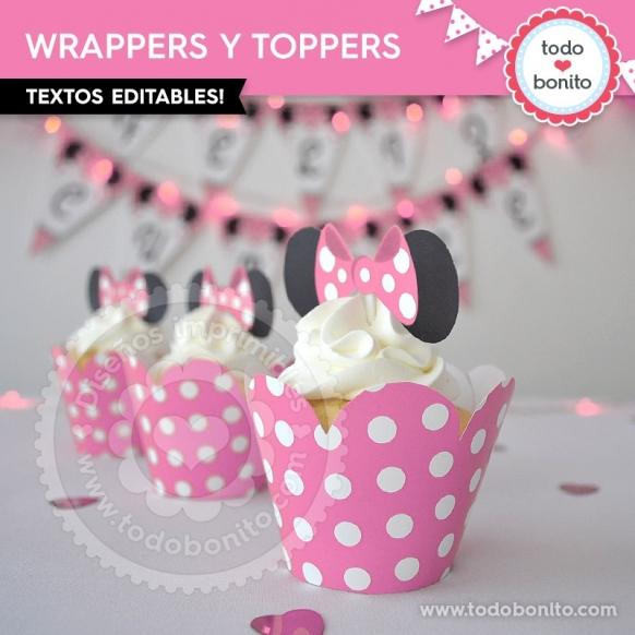 Wrappers y Toppers imprimibles Modelo Orejas Minnie rosa por Todo Bonito