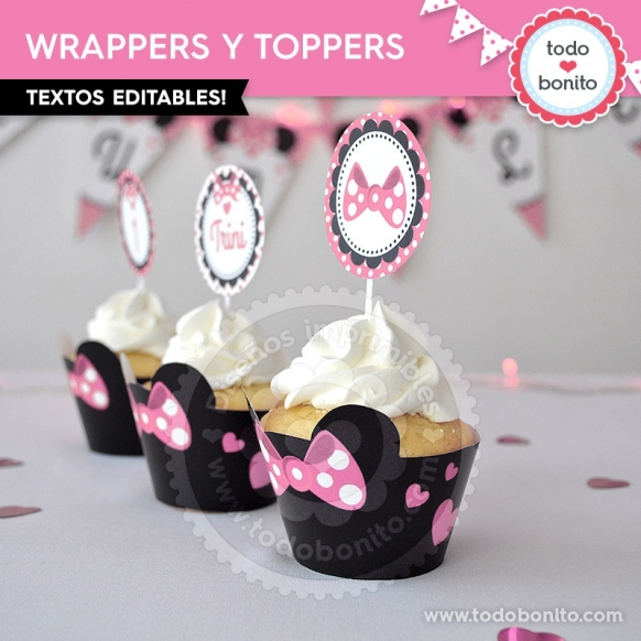 Wrappers y Toppers Moño Minnie Rosa