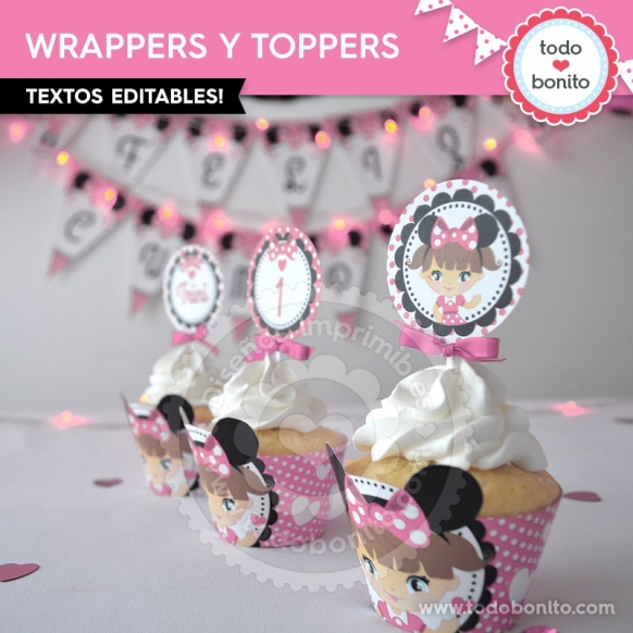Wrappers y Toppers Nena Minnie Rosa