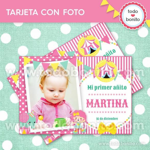 Circo Niñas- Tarjeta con foto