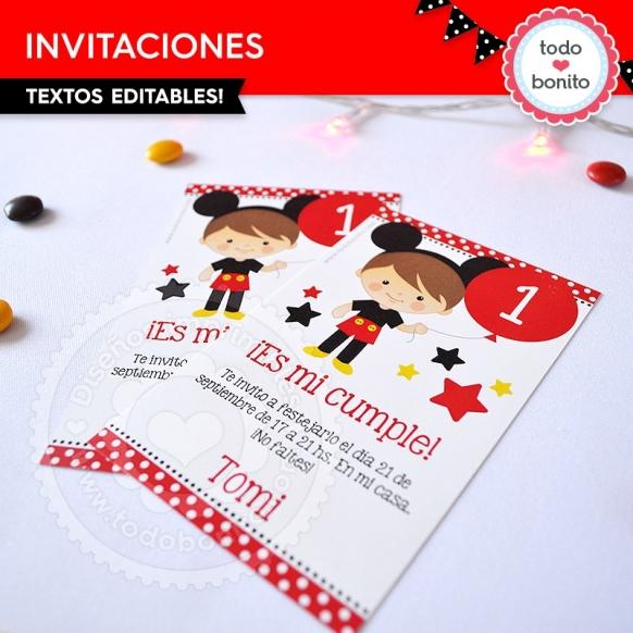 Invitaciones Orejas Mickey