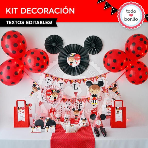 Kit Decoración Orejas Mickey