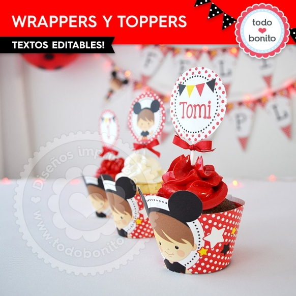 Wrappers y Toppers Orejas Mickey