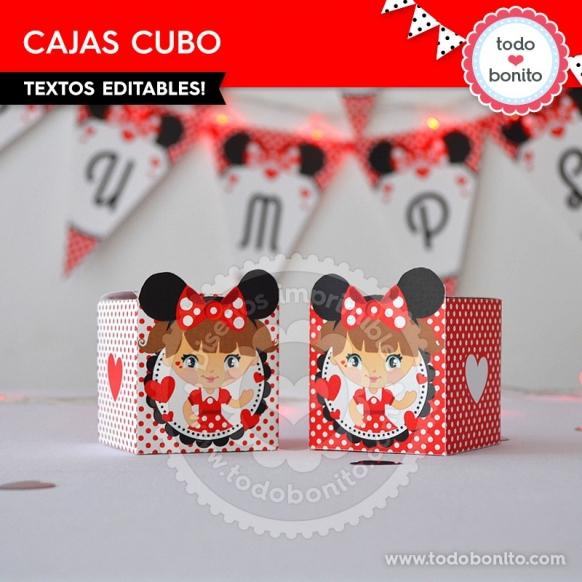 Caja Cubo imprimible Orejas Minnie rojo por Todo Bonito <3